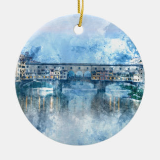 Ponte Vecchio op de rivier Arno in Florence, Rond Keramisch Ornament