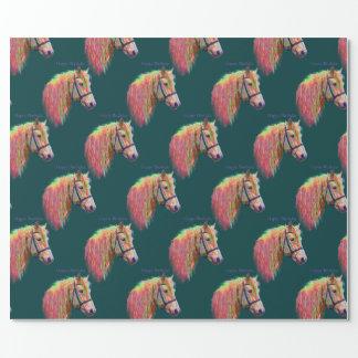 Pony, regenboogkleuren. Gelukkige Verjaardag Cadeaupapier