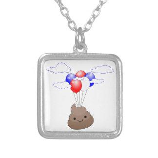 Poo Emoji die met Ballons vliegen Zilver Vergulden Ketting