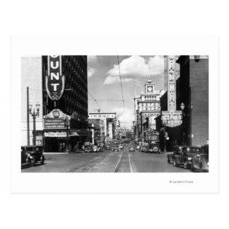 Portland, OF Uitzicht van Broadway die het Noorden Briefkaart