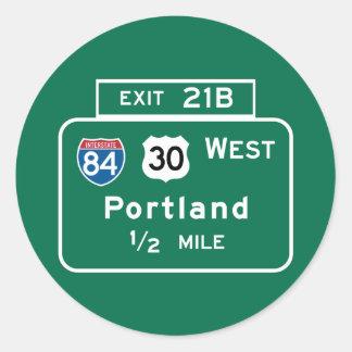 Portland, OF Verkeersteken Ronde Sticker