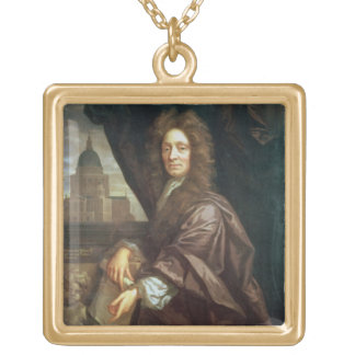 Portret van de Heer Christopher Wren (olie op canv Goud Vergulden Ketting