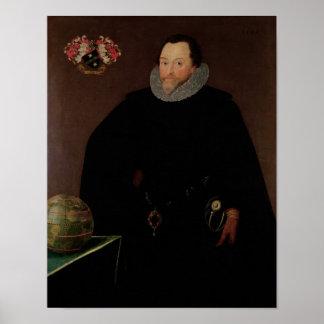 Portret van de Heer Francis Drake 1591 Poster