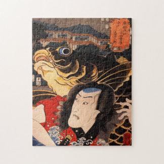 Portret van een acteur met een vis legpuzzel