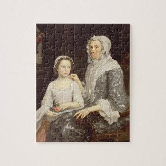 Portret van een Bejaarde Dame en een Jong Meisje ( Puzzels