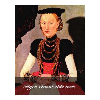 Portret van een Dame door Cranach D.J. Lucas Flyer 21,6 X 27,9 Cm