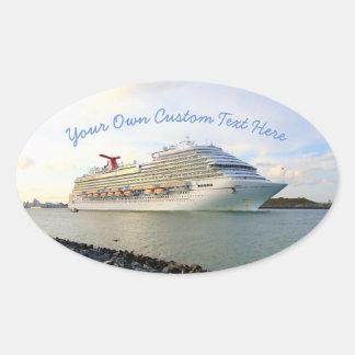 Portret van een Douane van het Schip van de Cruise Ovale Sticker