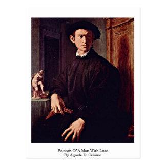 Portret van een Man met Luit door Agnolo Di Cosimo Briefkaart