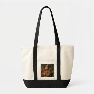 Portret van een Nar met een Luit (olie op canvas) Draagtas