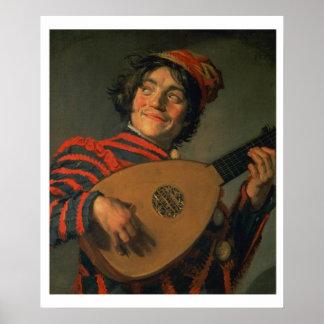Portret van een Nar met een Luit (olie op canvas) Poster