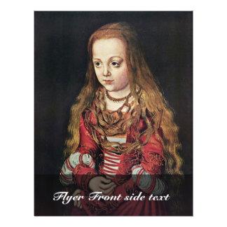 Portret van een Saksische Prinses door Lucas Flyer 21,6 X 27,9 Cm