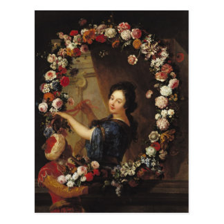 Portret van een Vrouw door Bloemen wordt omringd Briefkaart