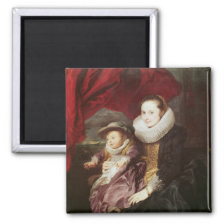 Portret van een Vrouw en een Kind Magneet