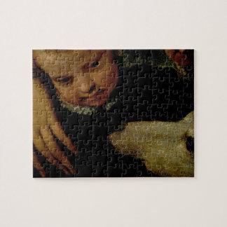 Portret van een Vrouw met een Kind en een Hond, de Puzzel