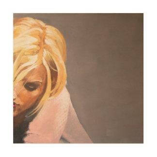 Portret van een vrouwenlezing hout afdruk