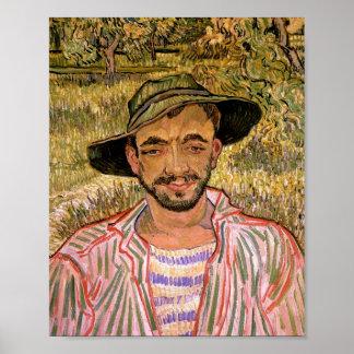 Portret van een Young Peasant Van Gogh Fine Art. Poster