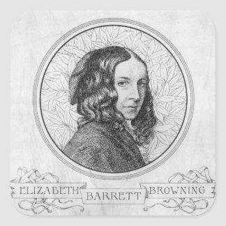 Portret van Elizabeth Barrett Browning Vierkante Sticker