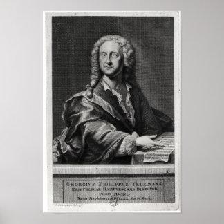 Portret van Georg Philipp Telemann Poster
