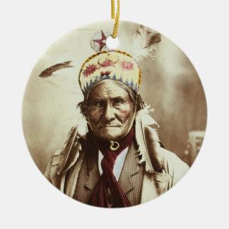 Portret van Geronimo van de Leider van Apache van Rond Keramisch Ornament