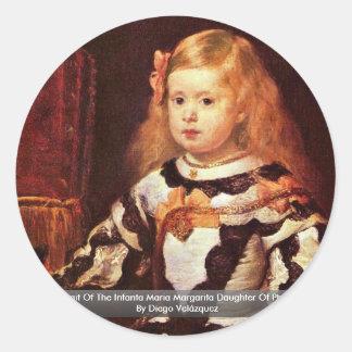 Portret van Infanta Maria Margarita Ronde Sticker