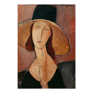 Portret van Jeanne Hebuterne in een groot pet Poster