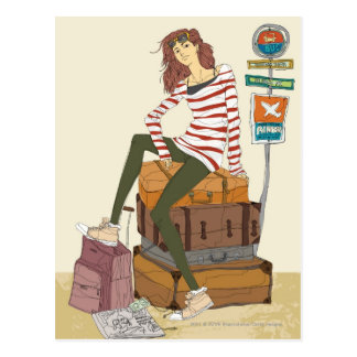 Portret van jonge vrouwenzitting op koffer briefkaart