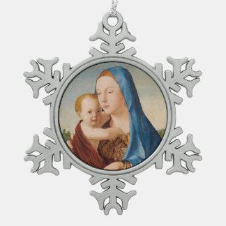 Portret van Mary Holding Baby Jesus Tin Sneeuwvlok Ornament