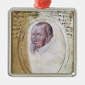 Portret van Olivier de Serres Zilverkleurig Vierkant Ornament