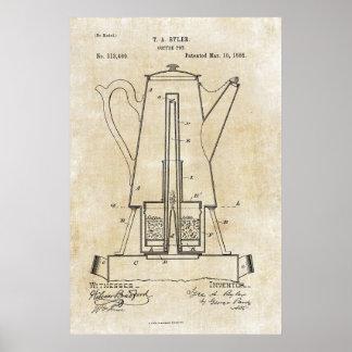 Poster 1885 van de Druk van het Octrooi van de Pot