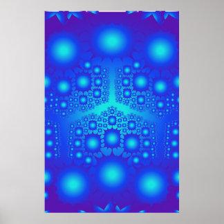 Poster: Blauwe Fractal Explosies Poster