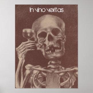 Poster in vinoveritas = in wijn, het Skelet van de