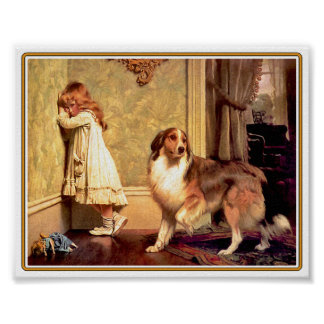 Poster: Meisje met Huisdier Sheltie Poster
