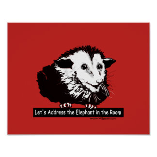 Poster met bericht en opossum