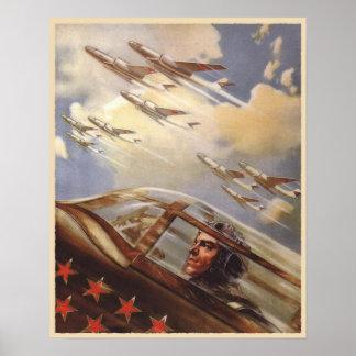 Poster met de Vintage Propaganda van de Luchtmacht