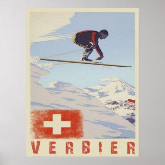 Poster met Druk van de Ski van Zwitserland de Vint
