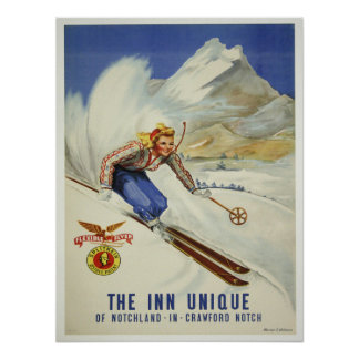 Poster met Vintage het Ski?en Druk
