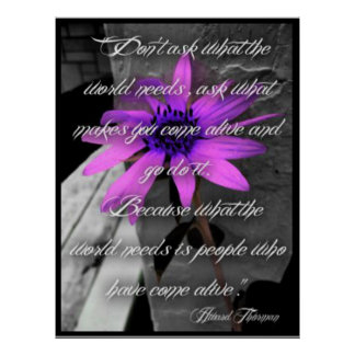Poster, Paarse Zonnebloem Howard Thurman Quote Poster