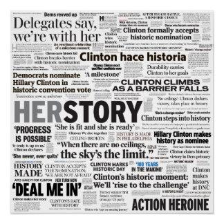 Poster van de Collage van de Krantekop van Hillary