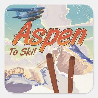 Poster van de de skireis van de V.S. van de esp Vierkante Sticker