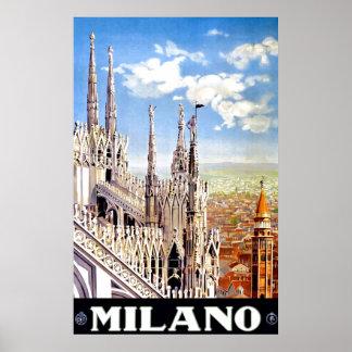 Poster van de Druk van de vintage Reis van Milaan