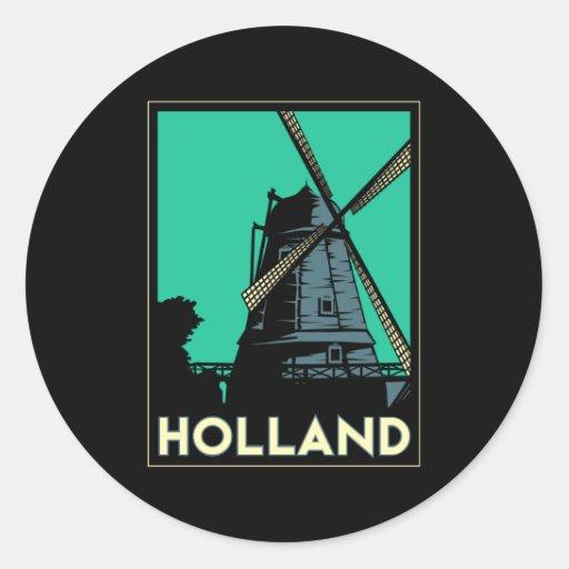 poster van de het art deco het vintage retro reis ronde stickers