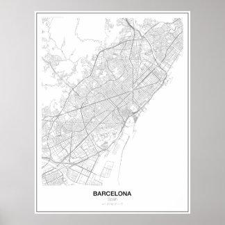 Poster van de Kaart van Barcelona, Spanje het
