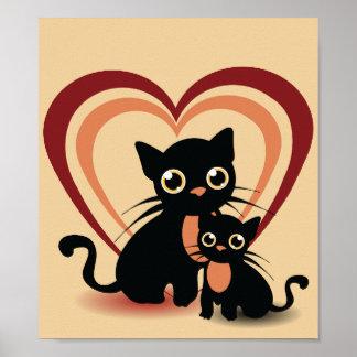 Poster van de Katten van de liefde het Zwarte