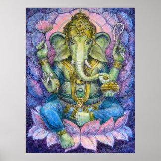 Poster van de Kunst van Lotus Ganesha het Hindoese