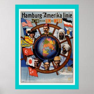 Poster van de Lijn van Hamburg het Amerikaanse