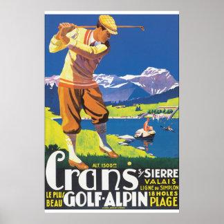 Poster van de Reis van Alpin van het golf het