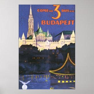 Poster van de Reis van Boedapest het Vintage