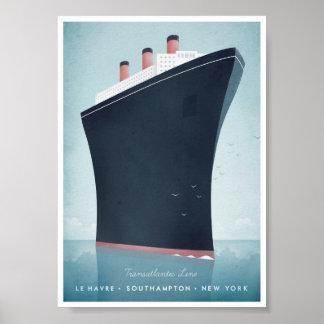 Poster van de Reis van de lijnboot het Vintage