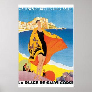 Poster van de Reis van het Strand DE Calvi Corse
