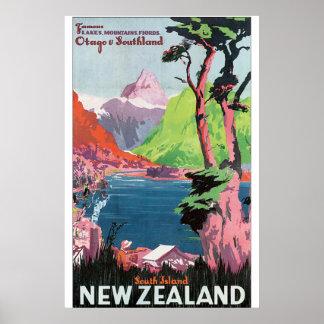Poster van de Reis van Nieuw Zeeland van het